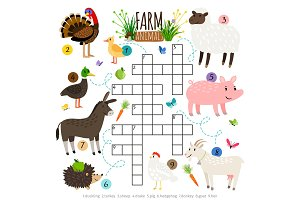 Ffarm animals crossword for kids