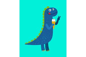 Happy cartoon dino with ice-cream