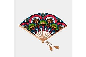 Vintage floral ornament asian fan