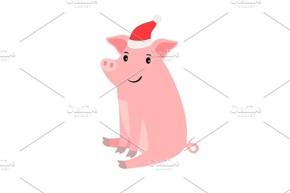 cute pink pig in santa hat graphic objects creative market