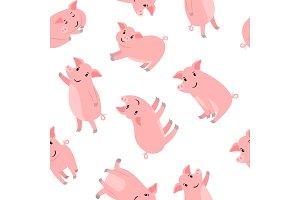 Happy cartoon pink pigs pattern