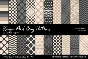 Beige And Gray/Grey Digital Papers