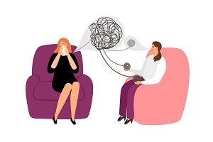 Psychotherapy concept with female