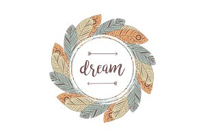 Dream lettering feathers frame