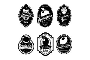 Black and white vintage fruit labels