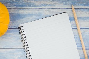 Blank notebook with pencil and autum
