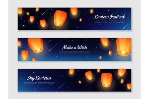 Horizontal banners with sky lanterns