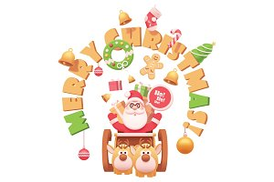 Vector Santa Claus with reindeers