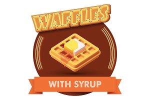 Vector waffle illustration or label