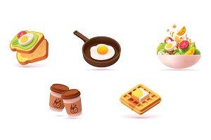 Vector breakfast icon set