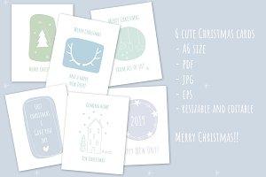 6 handdrawn A6 Christmas postcards