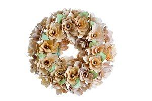 Birch wood wreath on white