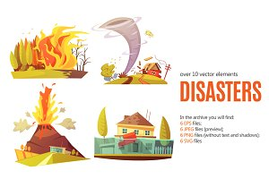 Natural Disaster Cartoon Set