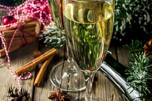 Champagne with Christmas decoration