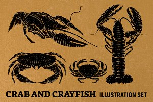 Crab and crayfish logotype