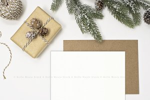 Christmas Card Mockup Flat Lay