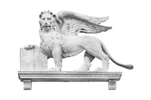 Winged Lion Sculpture Isolated