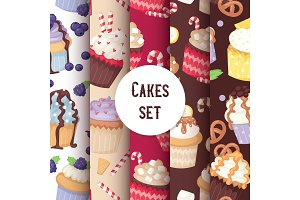 Cupcake seamless pattern cute cake