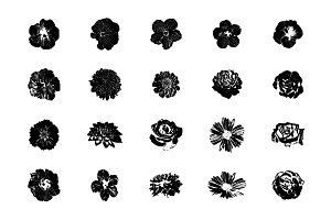 Flower silhouette illustrations