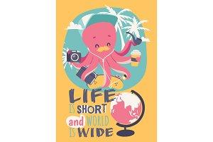 Cute cartoon octopus poster vector