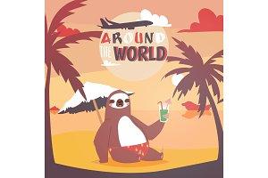 Sloth on vacation background. Animal
