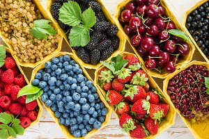 Fresh berries in baskets