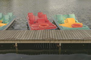 Pleasure boats with pedals on the