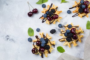 Homemade waffles with chocolate and