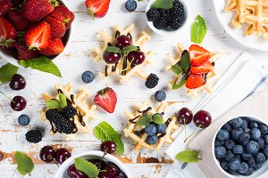 Colorful waffles with different