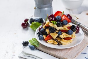 Breakfast - waffles with berries on