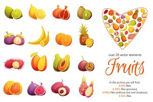 Fruits Cartoon Set