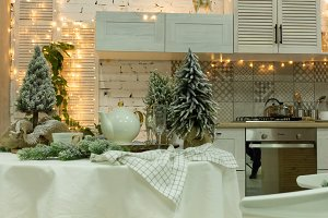 Kitchen decorated for the new year