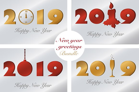 new year greetings bundle illustrations