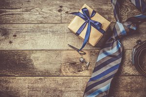 Father's day concept - present, tie