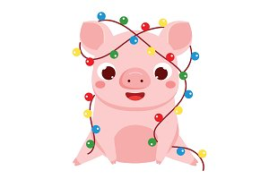 Cute pig with Christmas lights