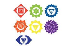 Seven chakras icons