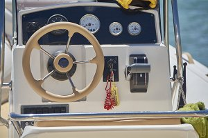 The boat's steering console