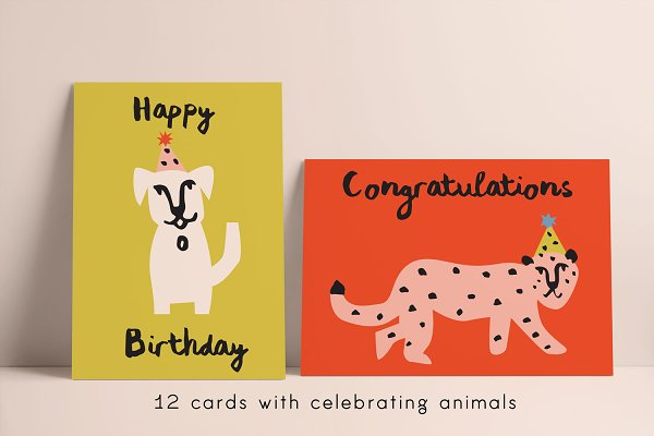Illustrations and Illustration Products: Emma Make - Joyous Animal Greetings Cards
