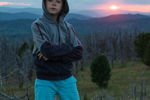 Boy at the evening in Altai