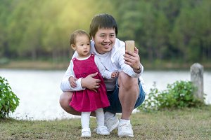 Happy family which have asian father