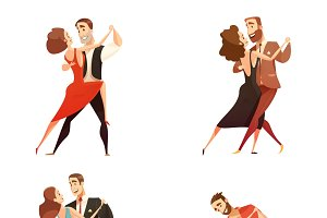 Dance pair retro cartoon set