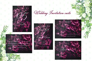 Rose Wedding Invitation Suite