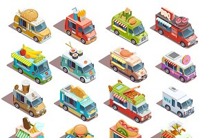 Street food trucks isometric icons