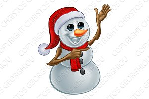 Christmas Snowman in Santa Hat