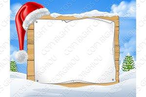 Christmas Sign Santa Hat Winter Snow