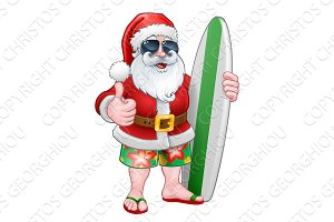 Cool Santa With Surfboard and Shades
