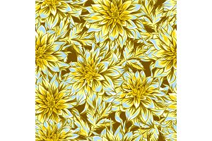 Seamless pattern with fluffy yellow