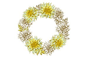 Decorative wreath with fluffy yellow