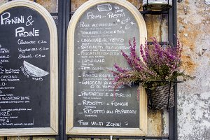 menu in a cafe on the street