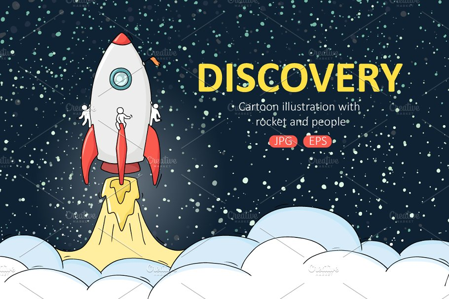 Space rocket launch mini Set ~ Illustrations ~ Creative Market